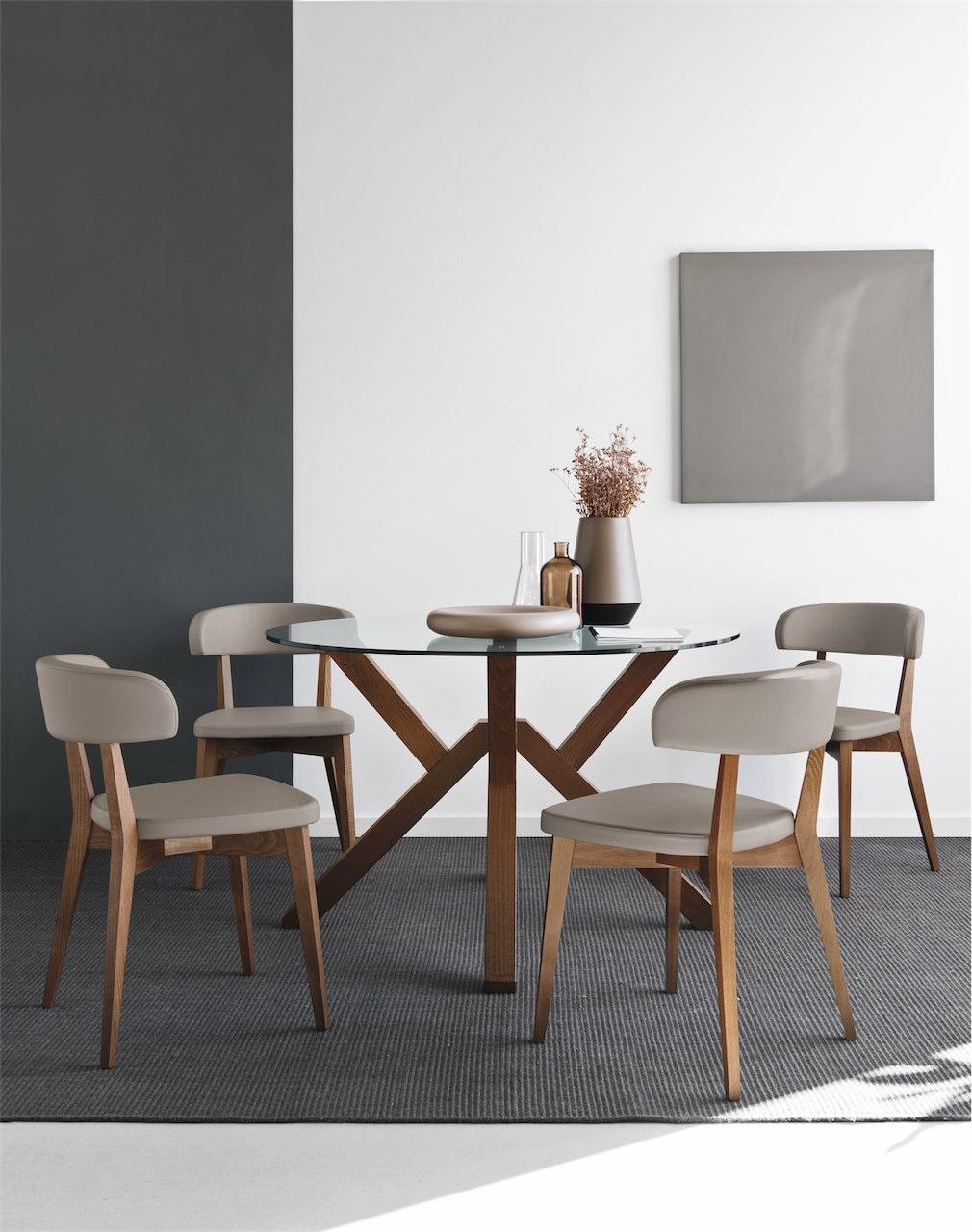Sedie Per Tavolo Di Vetro.Mikado Tavolo Connubia Calligaris In Legno E Vetro