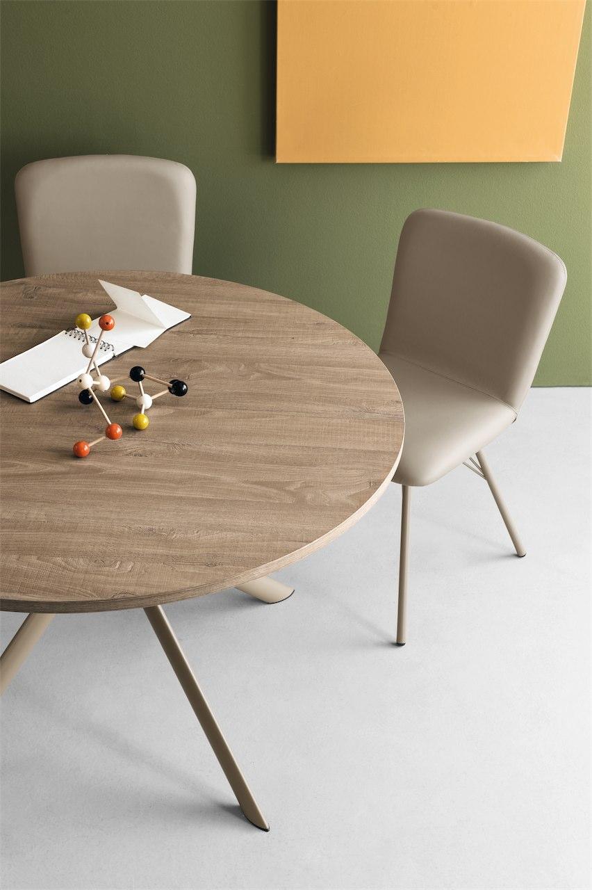 Giove tavolo rotondo allungabile connubia calligaris in metallo e piano in vetro o legno - Tavolo vetro allungabile calligaris ...