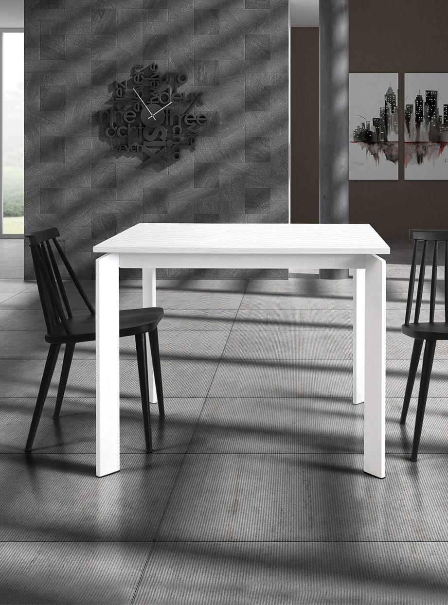 Tavolo 833 | Tavolo 90 x 90 in legno allungabile bianco
