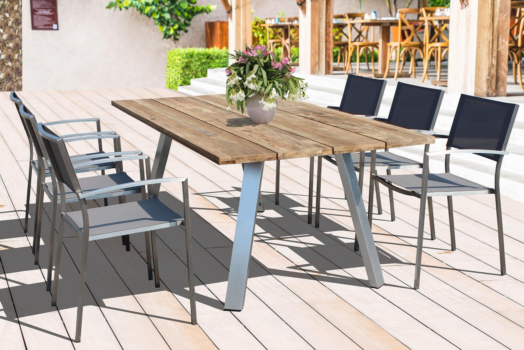 Nevis | Tavolo da esterno in alluminio e legno teak 200 x ...