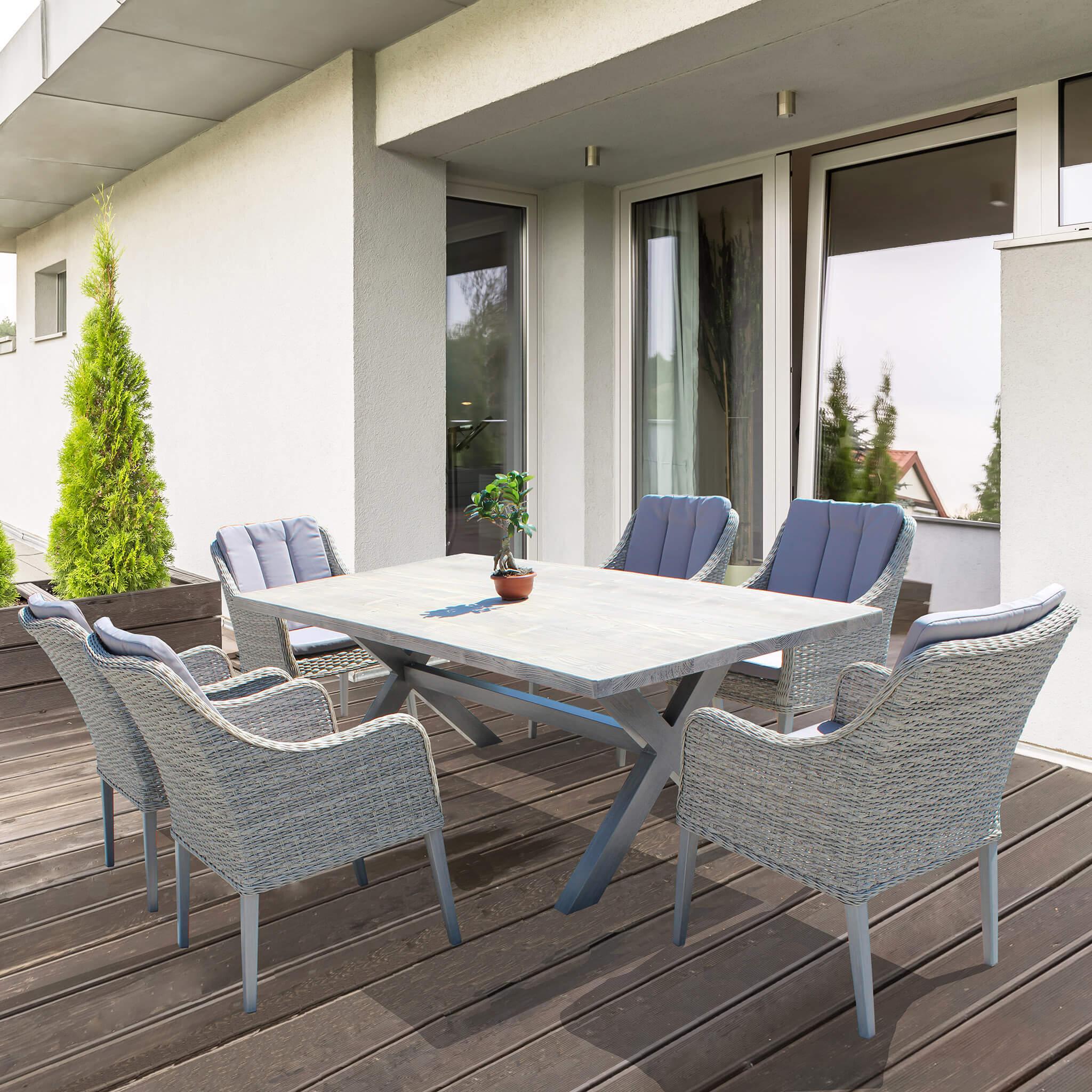 Malesia | Tavolo da esterno in alluminio e piano effetto ...