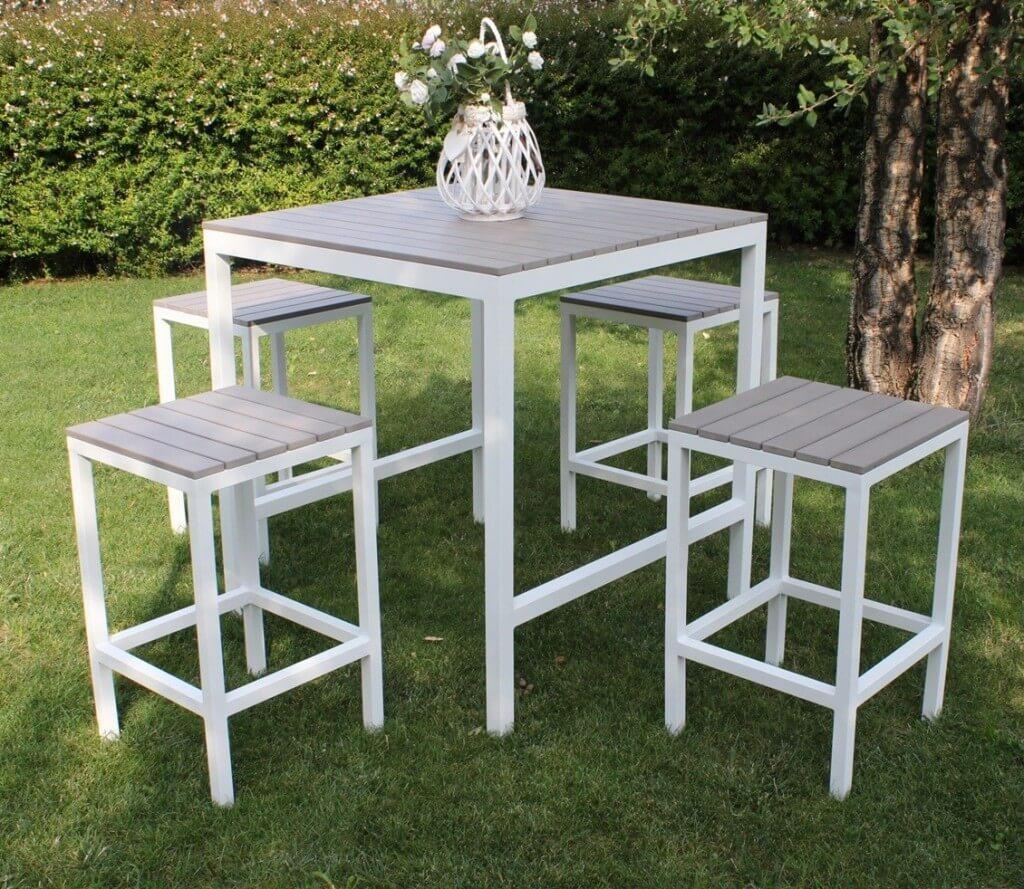 Sirio | Set bancone + sgabelli da esterno in alluminio e ...