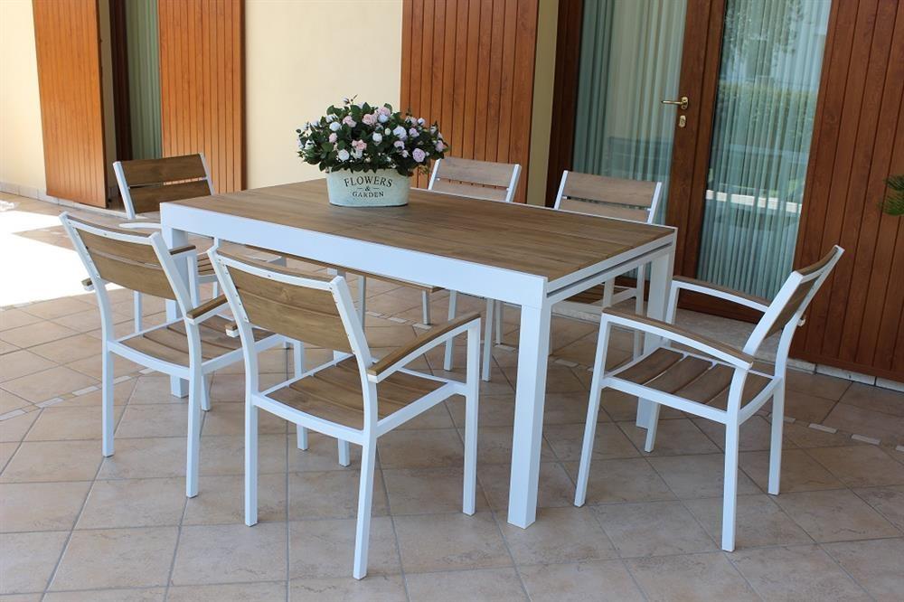 Cayman | Tavolo allungabile da esterno in alluminio e teak ...